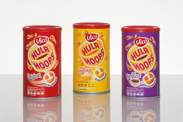 Convenient and crunchy: Vico's Hula Hoops come in Sonoco's rigid paperboard containers